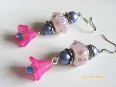 Lampwork beads earrings, blue pearl and crystal, pink bell ,women earrings $8.99