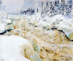 Akseli Gallen-Kallela aprilie 1865 - 7 martie - Imatra in Winter Painting Snow, Winter Painting, A4 Poster, Poster Prints, Scandinavian Paintings, Google Art Project, Winter Images, Oil Painting Reproductions, Vintage Artwork