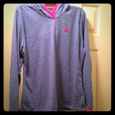 North face hoodie Purple/grey hoodie with hott pink lining. Thinner material. Brand new never worn. It was a gift and is just too big on me. North Face Tops Sweatshirts & Hoodies