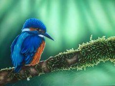Kingfisher Airbrush Painting on Illustrationboard