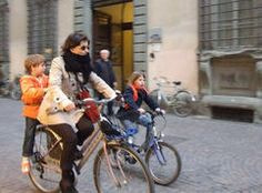 Family off to school by bike