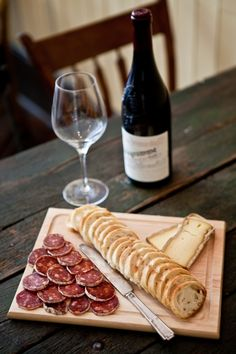 Fromage et saucisson/need anything more?  Reminds me of  Dan and I in Paris ... I was to young to drink... What a shame...so many great wines there..made up on breads and cheeses...GREAT