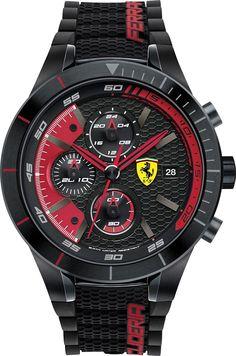 612ec64096d Scuderia Ferrari Men s Chronograph RedRev Evo Black Silicone Strap Watch  46mm 830260 Black Stainless Steel