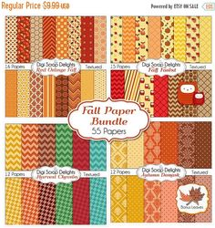 50% OFF TODAY Fall Digital Papers Bundle w Leaf & Owls Clip Art for Digital Scrapbooking, Fall Card Making, Brown, Orange, Gold Linen Texture  #fall #autumn #scrapbooking #digiscrapdelights #papers #thanksgiving