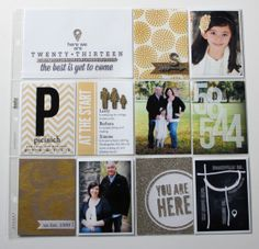 """project life title page. love the gold glitter paper she used to cut out the """"you are here"""" card with the silhouette"""