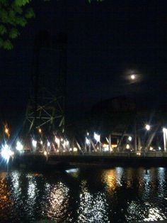 Welland canal and the eats main bridge lit up by the moonlight. Canada Eh, Moonlight, Light Up, Ontario, Maine, Bridge, Earth, World, The World