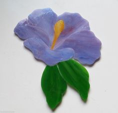 HIBISCUS FLOWER Precut Stained Glass Kit Mosaic Inlay Garden Stone Tile Lavender
