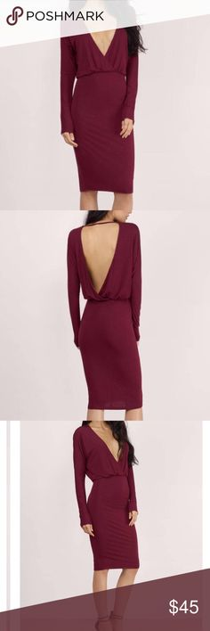 TOBI Bella Dolman Sleeve Midi Dress in Wine Sexy long sleeve midi dress with a body con skirt. Open back. Tobi Dresses Midi