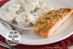 15 minutes of prep and 15 minutes of cooking makes this Dilly Salmon and Potatoes dinner perfect for a weeknight meal!