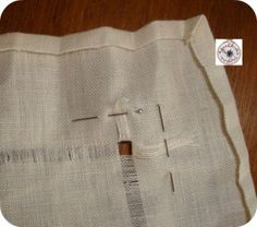 Making mitered corner with linen