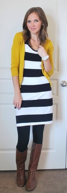 mustard cardigan with stripes and brown boots