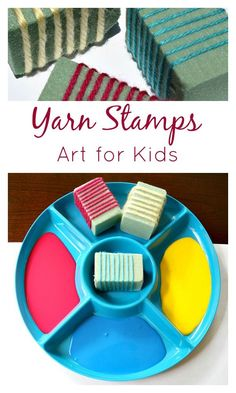 Yarn Stamps Art for Kids-Creative process art for toddlers, preschoolers, and elementary kids.