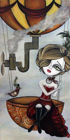 Original Painting -Steampunk Girl on Hot Air Balloon- Big Eye Art by Lizzy Falcon
