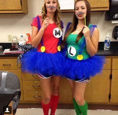 Mario and Luigi for our twin day costume, stolen from Pinterest of course :)