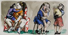Paula Rego - Mothers and Daughters, 1995 Painting & Drawing, Fairy Tales, Portrait, Drawings, Daughters, Watercolour, Mothers, Cartoons, Pastel