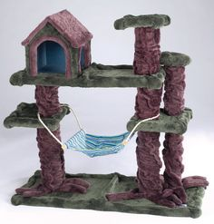 Our Kitty Treehouse Hideaway has lots of ways for cats to hide, snooze and play. Cat activity and play center is covered in soft plush. Attractively boxed for easy retail display.  Item #ZW91481      Price $149.99