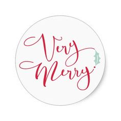 """Red and Blue Very Merry Classic Round Sticker"