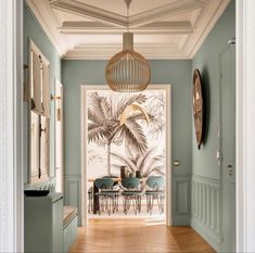 Hand Painted Wallpaper, Painting Wallpaper, Living Room Designs, Living Room Decor, Bedroom Decor, Peinture Little Greene, Exterior Design, Interior And Exterior, Mint Walls