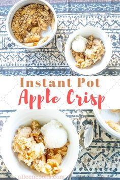 This instant pot apple crisp is so good! It's a quick and easy instant pot apple dessert recipe that tastes amazing! Apple Dessert Recipes, Apple Crisp Recipes, Fruit Recipes, Dinner Recipes, Slow Cooker Desserts, Best Instant Pot Recipe, Pressure Cooker Recipes, The Fresh, Quick Easy Meals