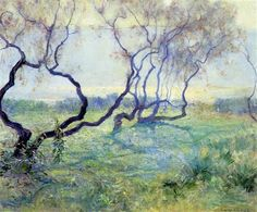 Tamarisk Trees in Early Sunlight - Guy Rose