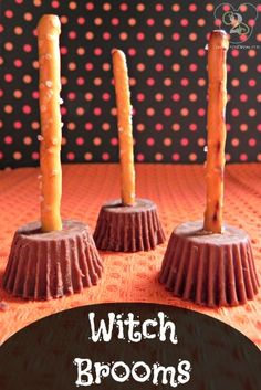 Witch brooms are a fun and easy treat that you can make for Halloween.  They look really cute and are the perfect blend of sweet and salty. I love simple Halloween treats like these!