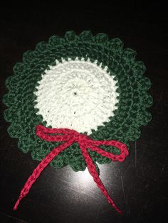 "Christmas wreath coaster... based on the ""Oilily coaster"" I found on #by-ilona-blogspot"