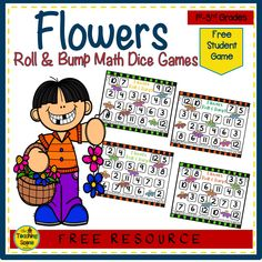 Do you need a flower math activity that is free? Try these Roll & Bump math games! Directions are located on each game board. Just print and laminate each game board to begin playing this fun flower game! Math Resources, Math Activities, Flower Games, Teen Numbers, Numbers Preschool, Thematic Units, Dice Games, First Grade Math, Math Facts