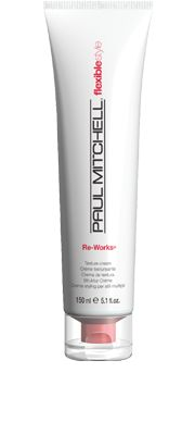 Re-works® Texture Cream Creates clean, moveable texture. Bendable formula allows for easy restyling. Can be used on wet hair for a natural finish or on dry hair for bold texture. Wheat-derived conditioners create pliable texture. #paulmitchell #hair #hairproduct #hairdresser #crueltyfree