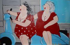schilderij vrolijke dikke dames van MO