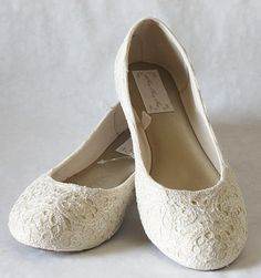 WeDDING LACe FLATS - PARIS Collection - Ivory Embroidered Nylon Vintage Lace