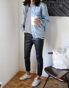 Denim jacket, stripe t-shirt, leather trousers + white trainers | @styleminimalism