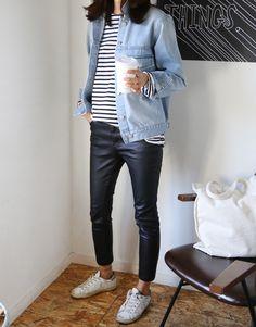 Denim jacket, stripe t-shirt, leather trousers + white trainers   @styleminimalism