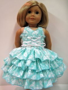Pretty Blue Ruffled Dress for your American by Dressesfordolls, $14.99