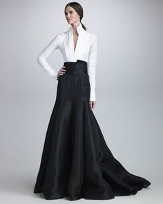 Stretch Taffeta Bodysuit, Long Gazar Evening Skirt & Satin Cummerbund Belt by Donna Karan at Bergdorf Goodman.