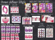 Ever After High Inspired  DIGITAL Party Set Bundle With by PartyPC, $23.00