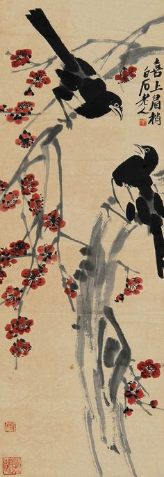 Qi Baishi: Magpies and Plums | Chinese Bird Painting | China Online Museum