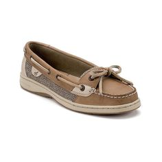 Women's Sperry Top-Sider Angelfish Boat Shoe ($80) ❤ liked on Polyvore featuring shoes, loafers, casual, casual shoes, tan, slip-on shoes, slip on deck shoes, slip on boat shoes, slip on slip resistant shoes and boat shoes