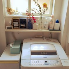 pariさんの、洗濯機,花,花瓶,瓶,ティッシュケース,ideaco,無印良品,カインズ,マスキングテープ,DIY,バス/トイレ,のお部屋写真