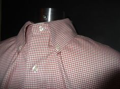 Brooks Brothers Tiny Checked Red Non-Iron Cotton Dress Shirt Sz 16-34/35 $78.00  $24.95