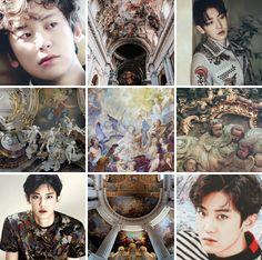 """Baroque Chanyeol moodboard for anon "" Kim Minseok Exo, Park Chanyeol, Aesthetic Collage, Book Of Shadows, Greek Mythology, Mood Boards, Shots, Korean, Kpop"