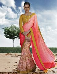 Ftrendy Peach & Off White colored Georgette  Printed Saree