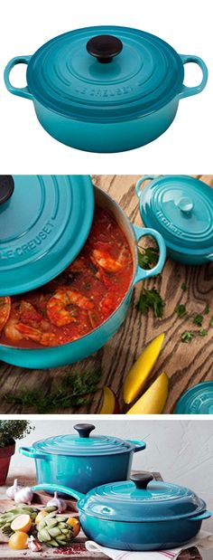 Le Creuset in Caribbean // love the colour of this cookware!