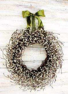 VICTORIAN COUNTRY COTTAGE-Vanilla Scented-Front Door Wreath-Rustic Spring Wedding-Shabby Chic Summer Wreath-Choose Scent & Ribbon Color. $55.00, via Etsy.