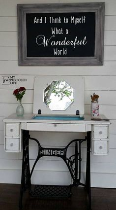 A great idea for an old sewing machine! A vanity, table or desk!