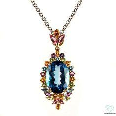 14k Yellow Gold Multi Colored Semi Precious Stone Pendant - Jewelry via Polyvore