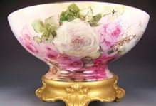"""Exceptional Impressive 16 ¼"""" Diameter Antique Limoges France Hand Painted Punch Bowl Gorgeous Turn-of-the-Century Victorian Masterpiece Treasure ~ Drop Dead Gorgeous Hand Painted Roses ~ Tressemann Vogt T Circa 1904"""