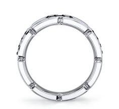 Tungsten and Silver 8mm Diamond Wedding Band