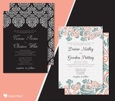 Free Damask and Nature Inspired Wedding Invitations Template. Customize and…