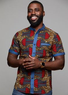 Tops - Olu Short Sleeve Mandarin Button-Up African Print Shirt (Red Umbrellas On Tan) African Attire, African Wear, African Dress, Ankara Dress, African Style, Modern African Clothing, African Print Fashion, African Prints, African Print Shirt