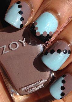 Nail art using @Revlon Waterfall and @Zoya Zinger Zinger Zinger Zinger Zinger Zinger Nail Polish Jana